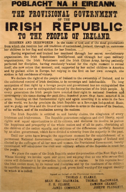 Poblacht na hÉireann - the 1916 Proclamation of the Irish Republic, an original copy with its distinct fonts