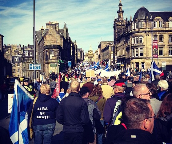 Alba Gu Brath - Scotland Forever. Thousands attend Scottish independence rally, Edinbugh, Scotland, 2012 (Photo: Wings Over Scotland)