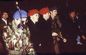 Peter Robinson leads Ulster Resistance militants in a rally, including Noel Little, British terrorist and arms smuggler, British Occupied North of Ireland, 1987