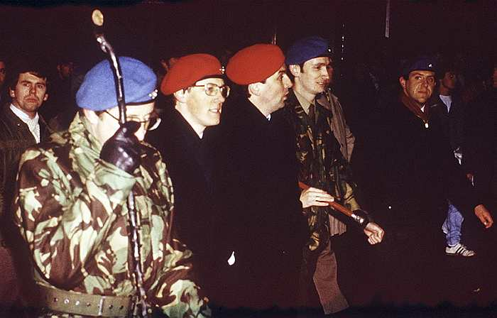 Peter Robinson leads members of the Ulster Resistance in a show of strength. Included in the picture is Noel Little, the British terror leader involved in the smuggling of arms from the Middle-east under the direction of the British and South African Intelligence services, British Occupied North of Ireland, 1987