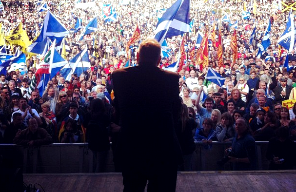 Scotland's First Minister and SNP leader Alex Salmond adresses independence rally, Edinburgh, Scotland, 2012 (Photo: Wings Over Scotland)