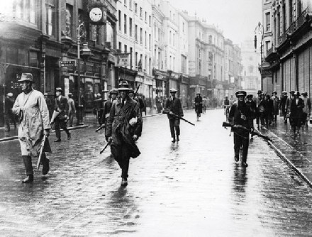 Volunteers of the Irish Republican Army move through Grafton Street, the Battle of Dublin, 1922