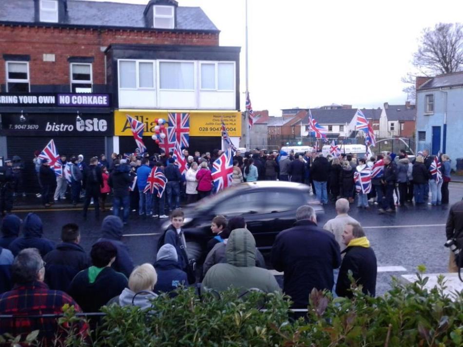 British Unionist protesters besiege the offices of the liberal Unionist Alliance Party in east Belfast, Ireland 2012 (Photo: The Five Demands)