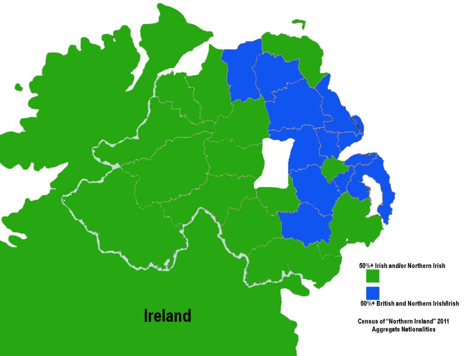 "Census of ""Northern Ireland"" 2011, Aggregate Nationalities, Irish, Northern Irish, British"