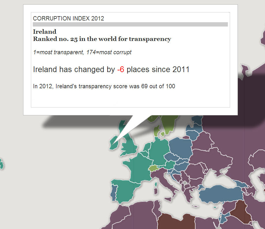 Global Corruption Index 2012 - Ireland falls six places to number 25 (Image: The Guardian)