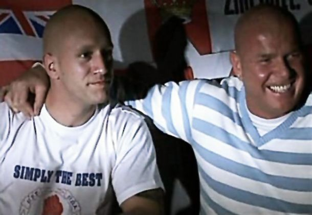 Nick Greger, a leading British fascist, poses with the infamous Johnny Adair, a former senior British terrorist with the UDA-UFF terror group