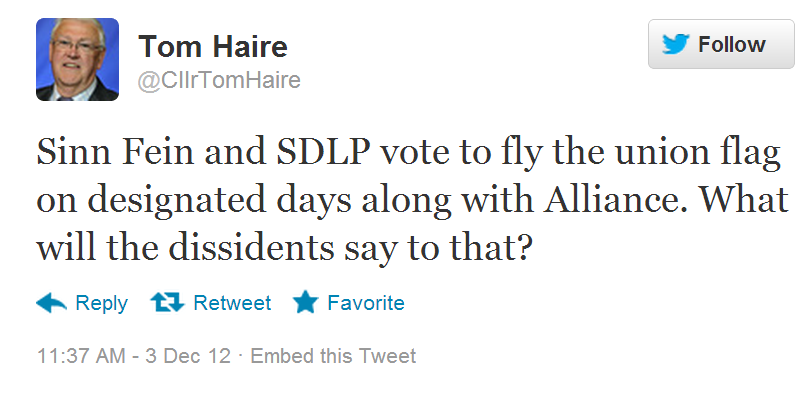 Tom Haire of the DUP issues a tweet in a crude attempt to draw a reaction from Resistance Republicans?