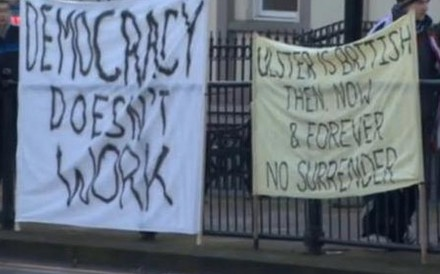 """Anti-democracy protesters from the British Unionist minority in Belfast, Ireland - """"Democracy Doesn't Work"""""""