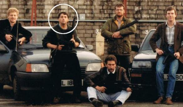 British Military Intelligence FRU member Ian Hurst - Martin Ingram circled in white, British Occupied North of Ireland, c. 1980s