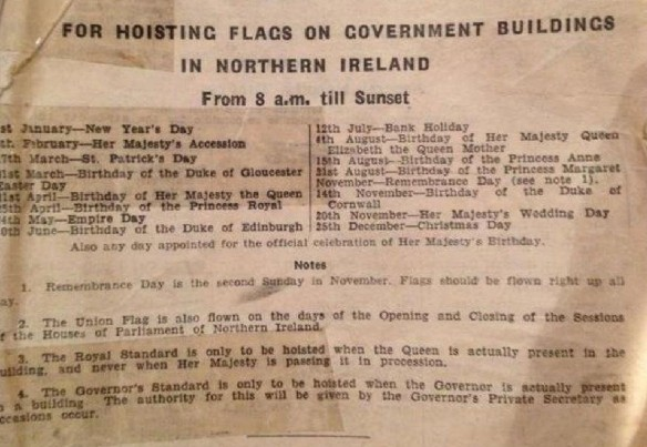Local government regulations in the North of Ireland during the 1950s - when the British national flag flew for 15 days a year from government buildings not the present 17 days - let alone 365 days a year!
