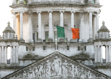 The Irish Tricolour, the national flag of Ireland, flies over Belfast City Hall - well, it will do so eventually!
