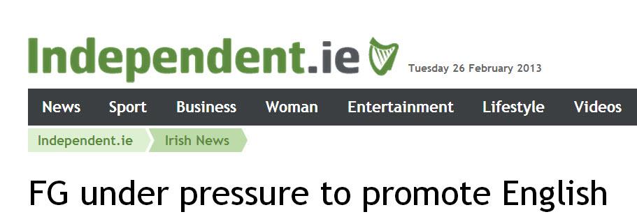 Fine Gael under pressure to promote English