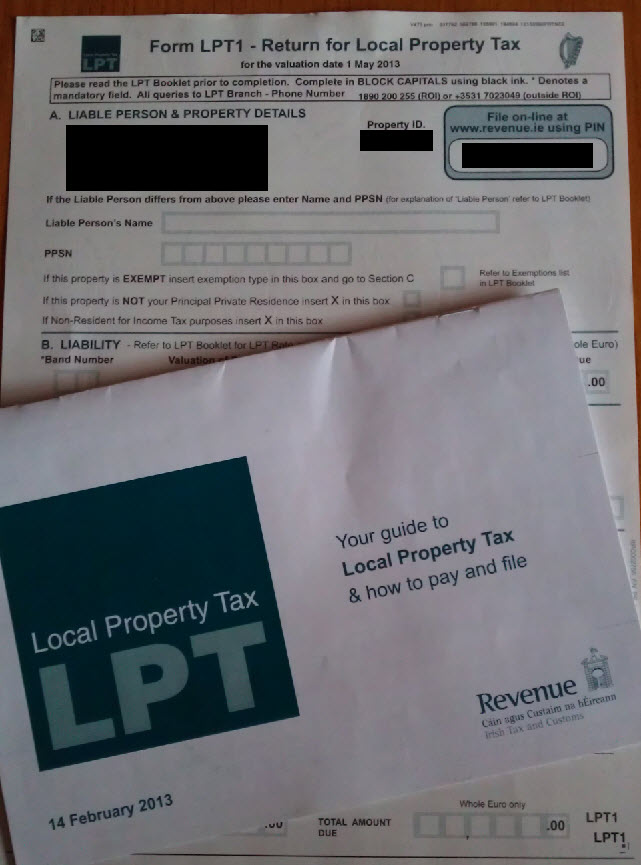 Local Property Tax form and booklet - no taxation without representation!
