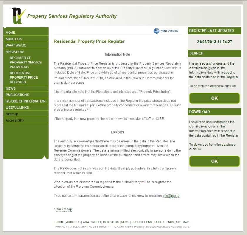 The Property Services Regulatory Authority - but where is the Irish?