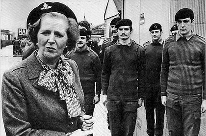 Margaret Thatcher touring the British Occupied North of Ireland in 1981 wearing a beret of the UDR, an infamous British Army militia responsible for scores of terrorist attacks during the 1970s, '80s and '90s