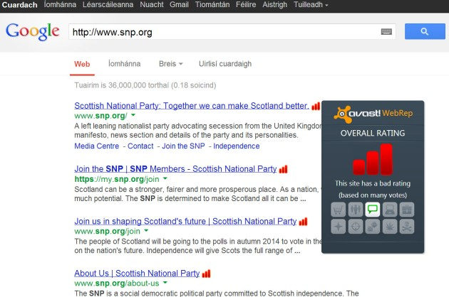 The SNP's website targeted by Britnats via avast!