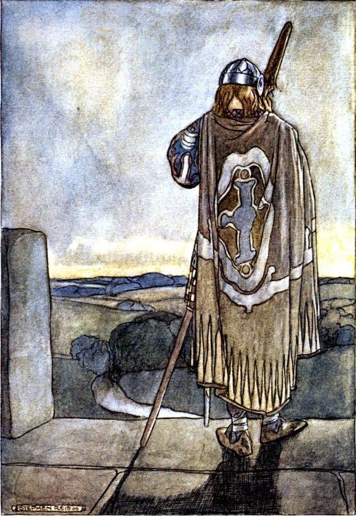 Finn heard far off the first notes of the fairy harp (Stephen Reid, 1910)