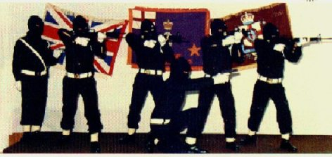 British terrorists in Ireland, members of the UVF, in a propaganda pose for the cameras