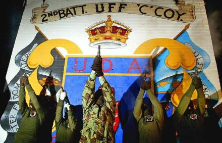 Gunmen of the UDA-UFF, a legal British terrorist faction in Ireland, pose for the cameras