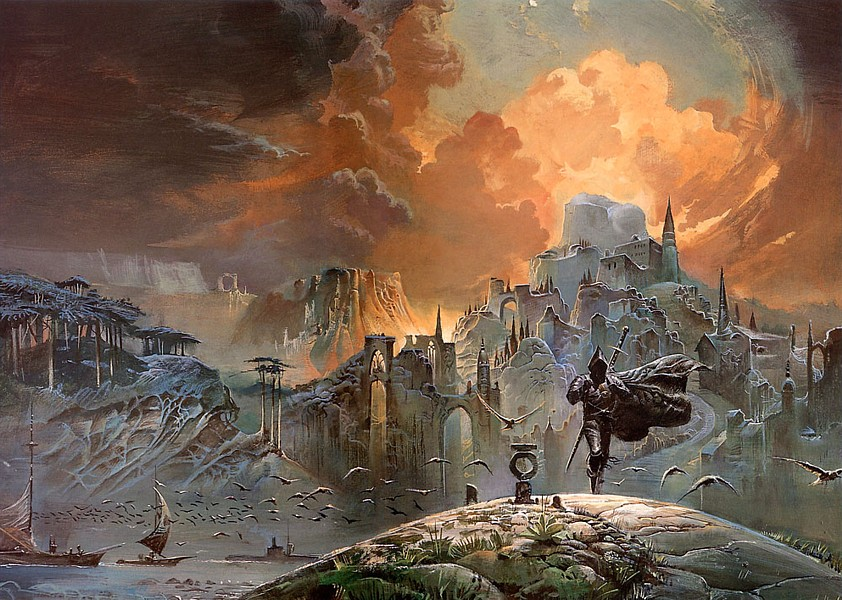Wraparound cover illustration for Gene Wolfe's science-fantasy classic The Shadow of the Torturer, drawn by Bruce Pennington, 1980