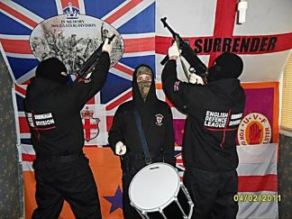 Members of the EDL, a Far Right movement in Britain, display their support for the British terror factions in Ireland