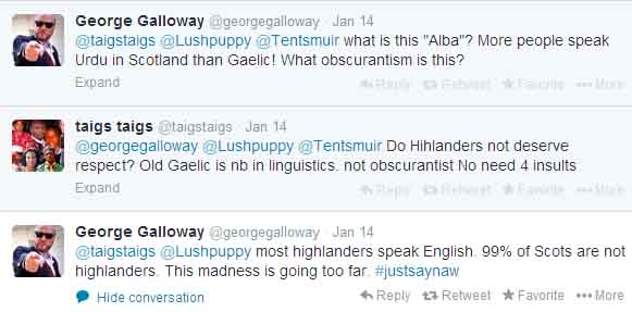 George Galloway dismisses the rights of Gaelic-speaking citizens of Scotland