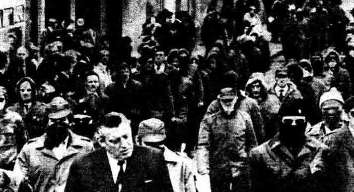 Ian Paisley leading a parade of British extremists in 1974, seven days after British terrorists carried out a series of car-bomb attacks that killed and maimed scores of people