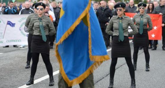 Female Irish Republican activists on parade in Dublin, Ireland
