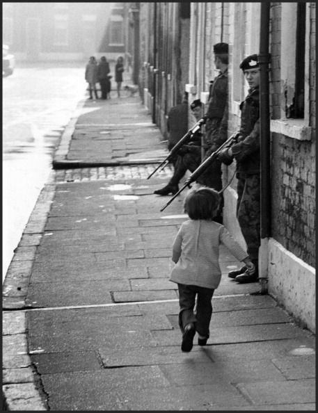 Soldiers of the British Army's Gloucestershire Regiment patrolling West Belfast, Ireland 1972