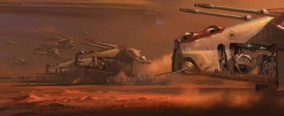 A Low Altitude Assault Transport or Republic Gunship from the Star Wars movie franchise