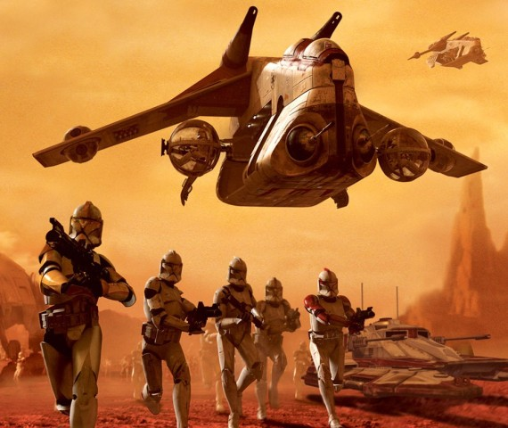 A Low Altitude Assault Transport or Republic Gunship from the Star Wars universe