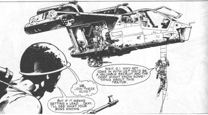 An Atmo-craft from the Rogue Trooper story Marauders drawn by Colin Wilson