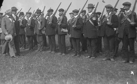 John Redmond MP inspects members of the Irish National Volunteers, the military wing of the Irish Parliamentary Party, the Phoenix Park, Dublin, Ireland, April 1915