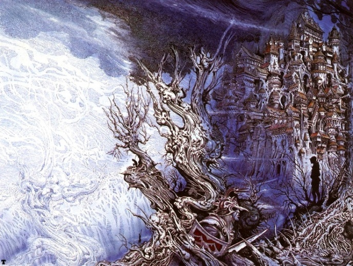 "Wraparound cover illustration for Michael Scott Rohan's Ice Age-set Fantasy novel ""The Forge in the Forest"""", drawn by Ian Miller"