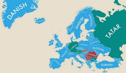Map showing the second most spoken languages in Europe by nation state, revealing historic regions of invasion, colonisation and modern immigration, 2014