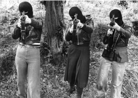 Members of the Cumann na mBan (CnamB), the womens' wing of the Irish Republican Army, armed with American-supplied M16 assault rifles, 1975