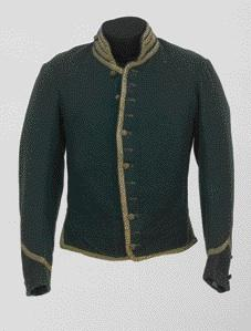 The uniform jacket worn by a volunteer of the Irish Republican Army during the Second Fenian Invasion of Canada, 1870, with its IRA buttons in place