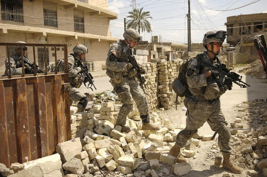 Troops from the United States Army on patrol in Iraq
