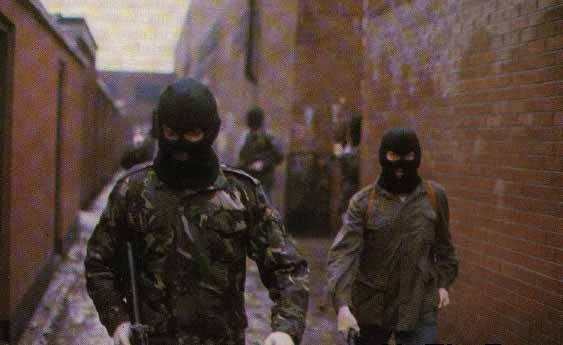 Volunteers of the Belfast Brigade of the Irish Republican Army on patrol, British Occupied North of Ireland, 1989