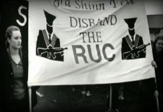 Maíria Cahill at an anti-RUC demonstration organised by Ógra Shinn Féin in the 1990s