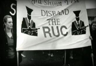 Maíria Cahill at an anti-RUC demonstration organised by Ógra Shinn Féin in the 1990s