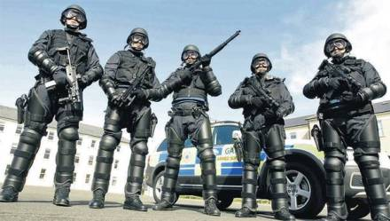 Armed and armoured officers of a Regional Support Unit in the Garda Síochána