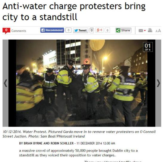 A massive crowd of approximately 50,000 people brought Dublin city to a standstill as they voiced their opposition to water charges