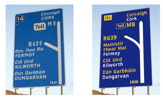 A suggested template for bilingual Irish and English language signs in Ireland