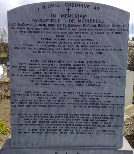 The De Móinbhíol or Mansfield family of Skerries, Ireland, with a monument mentioning two former Confederate officers of the American Civil War