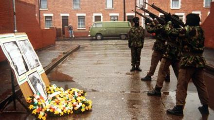 Volunteers of the Irish Republican Army fire a volley of shots in tribute to the so-called Gibraltar Three, unarmed IRA Volunteers Seán Savage, Daniel McCann and Mairéad Farrell who were killed by British Special Forces in 1988