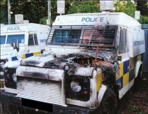 A damaged armoured jeep of the PSNI paramilitary police in the British Occupied North of Ireland