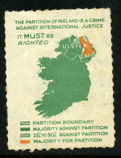 A stamp produced by the Anti-Partition of Ireland League in the 1940s illustrating the true extent of British Unionist support in Ireland and so-called Northern Ireland