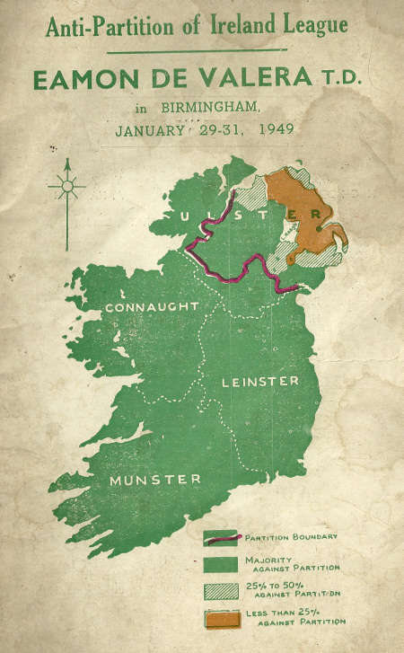 An image published by the Anti-Partition of Ireland League advertising an address by Éamon de Valera in 1949. It displays the true extent of British Unionist support in Ireland and so-called Northern Ireland