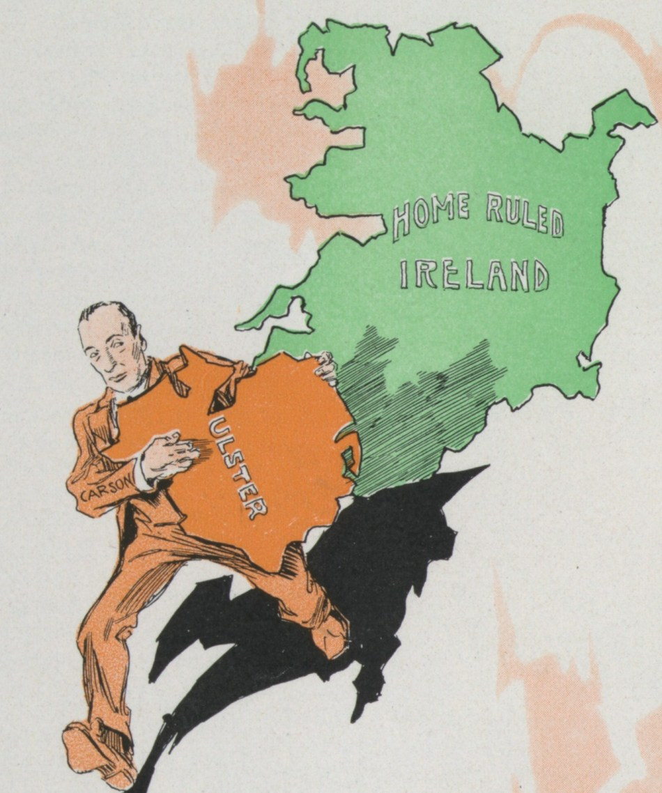 British Unionist demagogue Edward Carson kidnaps Ulster from Home Rule Ireland, Puck Magazine, New York, 1914